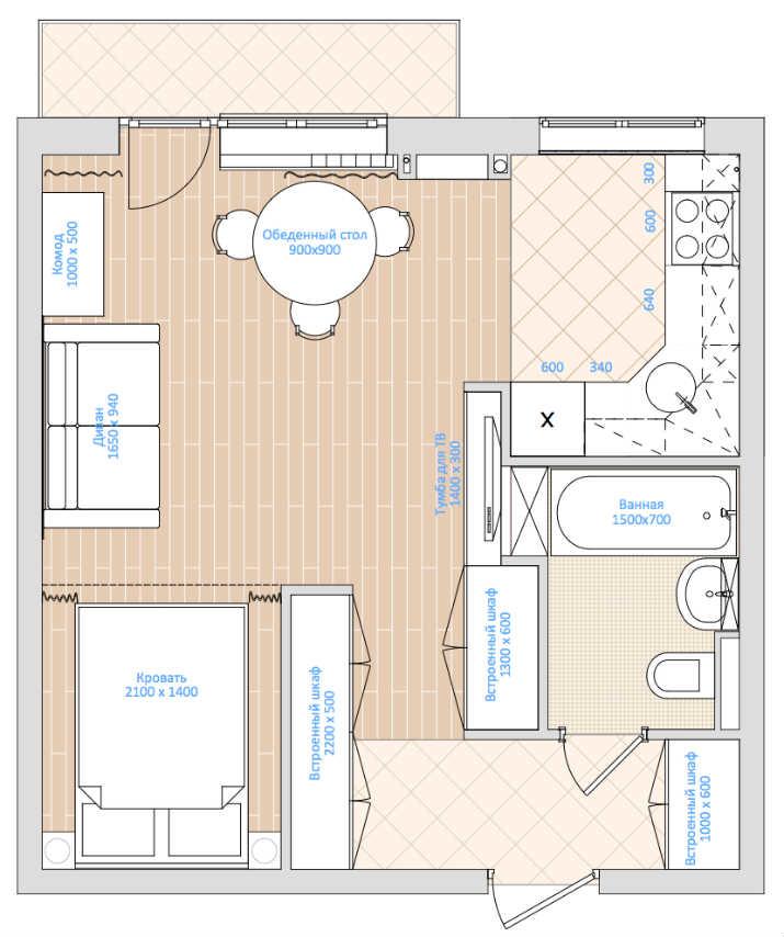 1 - Дизайн интерьера квартиры 33 кв. м.