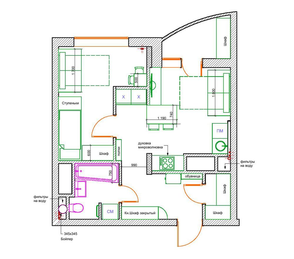 dizayn kvartiry 50 m2 plan - Дизайн интерьера квартиры 50 кв м