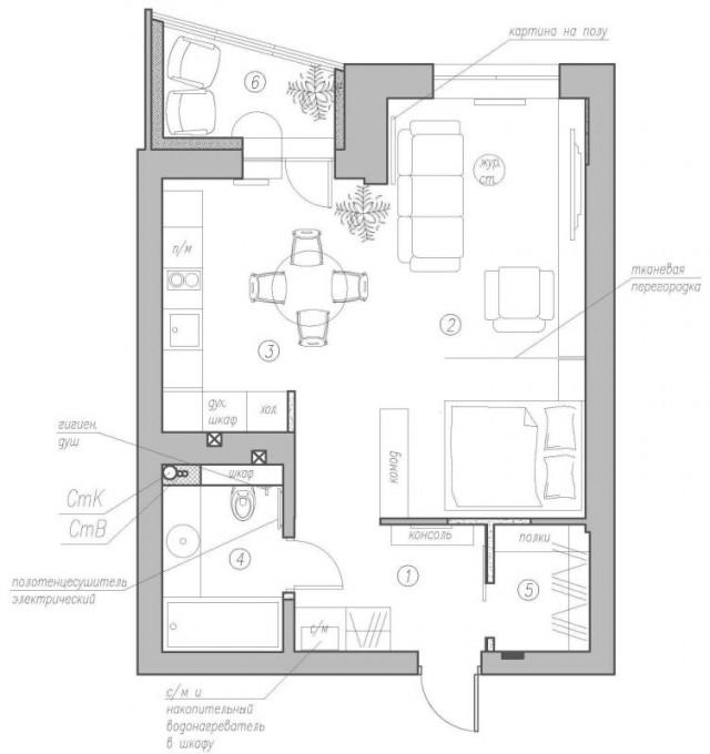 dizayn kvartiry 50 m2 plan2 - Дизайн интерьера квартиры 50 кв м