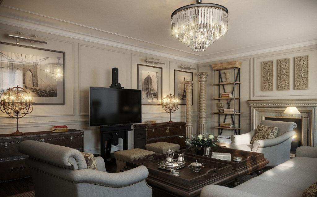 gostinnaya3 1024x638 - Американский дизайн интерьера квартиры