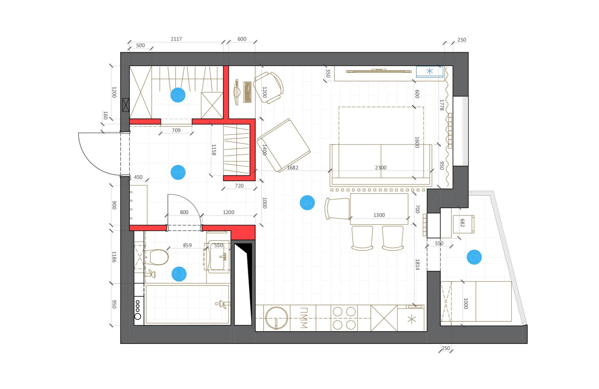 proekt sverhu1 - Дизайн интерьера 1-2 комнатной квартиры 45 кв м