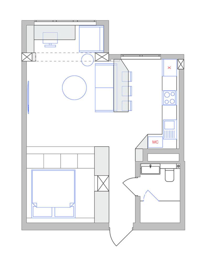 proekt2 - Дизайн интерьера 1-2 комнатной квартиры 45 кв м
