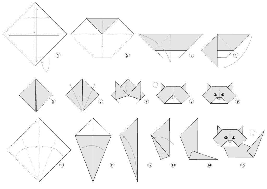 origami kot 1 1024x725 - Как сделать оригами - схемы и советы