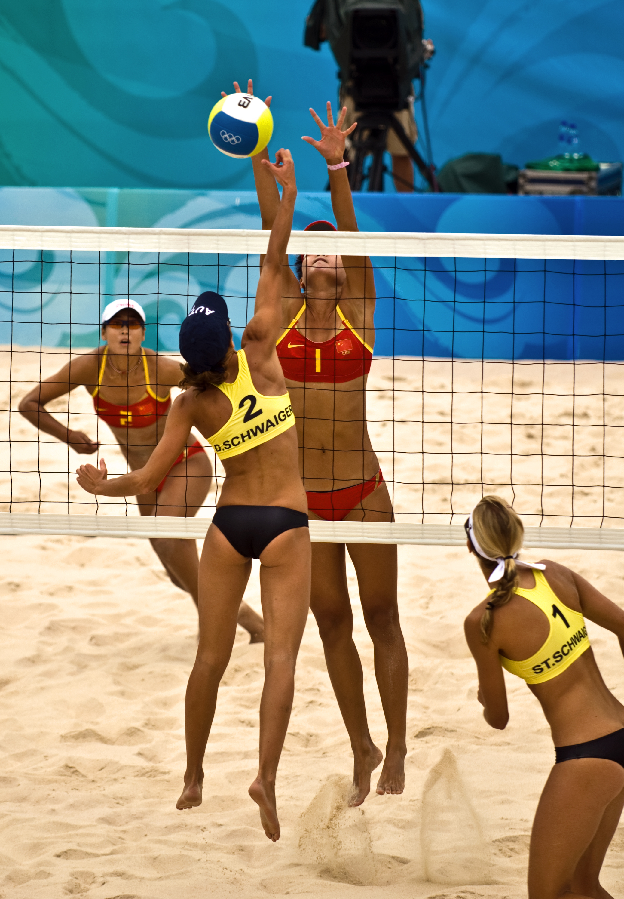 China vs. Austria in Beach Volleyball   Summer Olympics Beijing 2008 - История волейбола